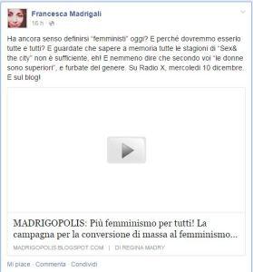 Francesca Madrigali femminismo